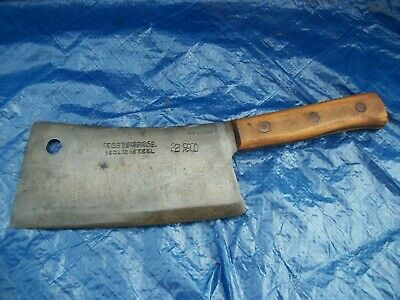 Large Vintage Foster Bros Steel Butcher Knife Meat Clever Very Clean Nice #2190