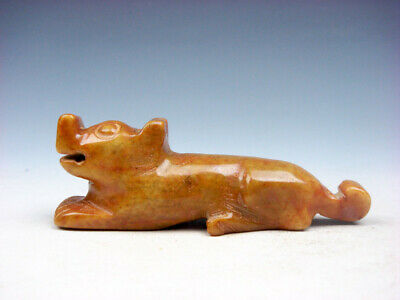 Old Nephrite Jade Stone Carved Sculpture FOO DOG LION Crouching #07311915