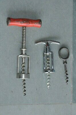 3 Pc Old Iron & Wooden Handcrafted Victorian Cork Screw/Openers