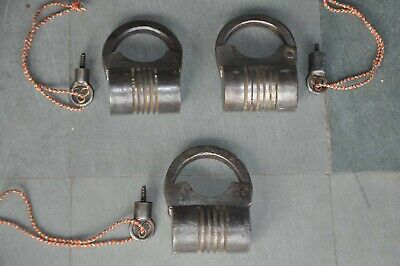3 Pc Old Iron Handcrafted Solid Unique Shape Screw Padlocks