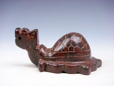 Old Nephrite Jade Stone Carved Sculpture Ancient Dragon Turtle #10241902