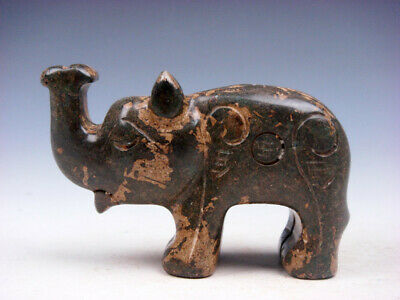 Old Nephrite Jade Stone Carved Sculpture Standing Elephant w/ Nose Up #10241903