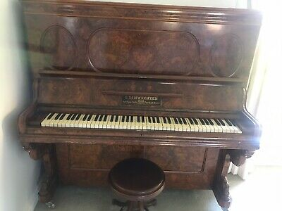 Quality Made German Antique Upright Piano (& Stool) by G.Schwechten