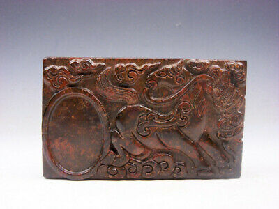 Vintage Nephrite Jade Stone Ink Slab Shaped Paperweight Horse & Coins #06251902