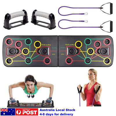 Multi-Function Portable Push Up Board with Resistance Band Home Fitness Training