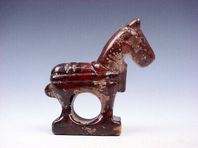 Old Nephrite Jade Stone Carved Sculpture Standing War Horse #01052001