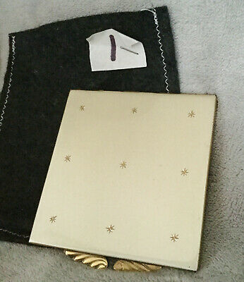 Vintage Square Silver Enamel And Gold Stars Powder Compact