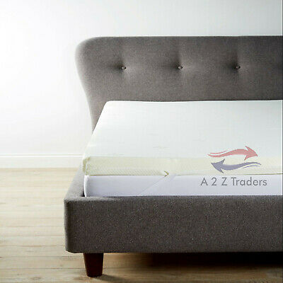 """1"""" Memory Foam Mattress Bed Home Hotel Topper Orthopedic + Terry Zip Cover Free"""