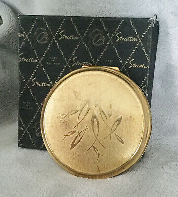 Stratton Gold Patterned Powder Compact With Original Box