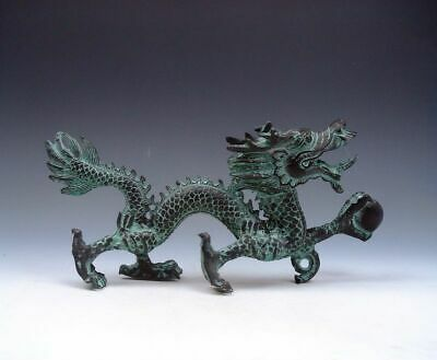 Bronze Crafted Sculpture Furious Walking Dragon Holding Pearl Ball #03312003