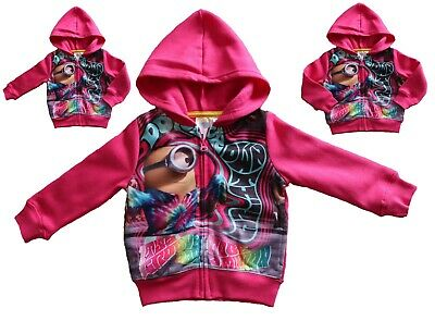 MINIONS Girls Kids Printed Hoodie Hoody Sweatshirt Zip up Fleece Pink 3, 4 Years
