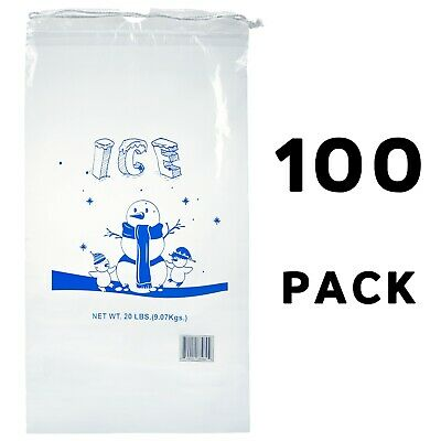 Alpine Industries 20 lb Commercial Ice Bag with Cotton Drawstring, 100 Pack