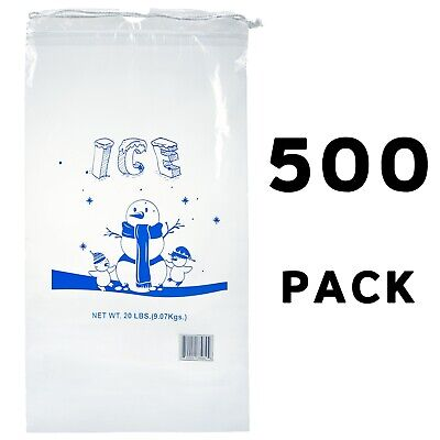 Alpine Industries 20 lb Commercial Ice Bag with Cotton Drawstring, 500 Pack
