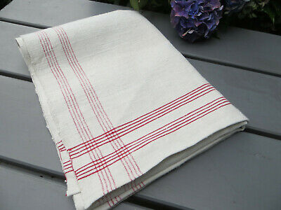 """Unused Antique Handwoven Linen Towel Runner  Red Stripes  17 """" by 47 """" $24.90"""