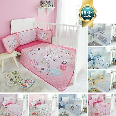 Baby Cot Bed Bumper Set 35x155cm Coverlet 100x120cm Jersey Fitted Sheet 70x140cm