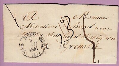 Cad Type 11 Mens Isere Taxe Modifiee 4 / 3 Grenoble 1841 Lettre Cover