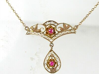 Antique Victorian 10k Yellow Gold Natural Ruby Filigree Ladies Necklace 2.7g