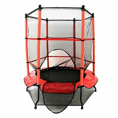Kids Mini Trampoline 4.5FT with Safety Net Enclosure & Red Cover Childrens Offer