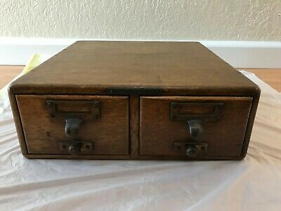 Antique Library Bureau Sole Makers small Card Catalog File Box Cabinet with RODS