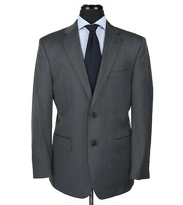 Jos A Bank Signature Gold Wool Suit Gray Herringbone Embossed Stripes Size 40R