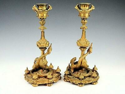 Pair Of Antique French Gilded Bronze Serpent Wrapped Candlesticks