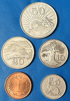 ZIMBABWE:- 5 different, 20th.century, post independence  coins. AP7800