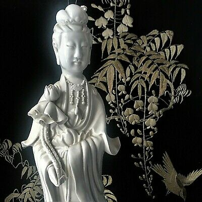 "18"" Antique Chinese Guan Yin Blanc de Chine Porcelain Goddess Mercy Statue sgnd."