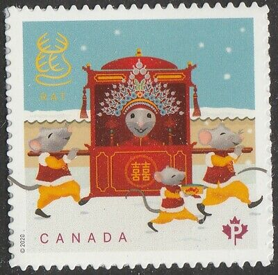 Canada Lunar New Year Rat 'P' single (1 stamp from booklet) MNH 2020