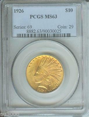 1926 $10 INDIAN EAGLE PCGS MS63 MS-63 NO spots ! Premium Quality PQ +++