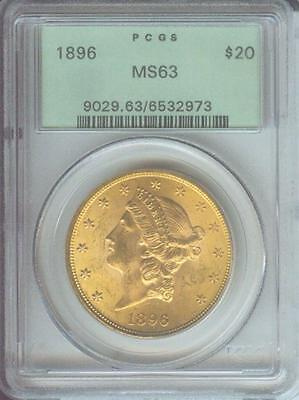 1896 ( 1896-P ) $20 Gold LIBERTY Double Eagle PCGS MS63 OLD GREEN HOLDER OGH