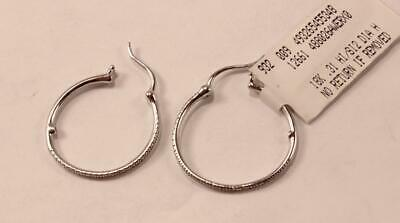 Roberto Coin 18K White Gold Diamond Round Hoop Skinny Mismatched Earrings