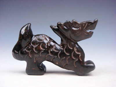 Vintage Nephrite Jade Stone Carved Sculpture Furious Dragon Walking #07181902C
