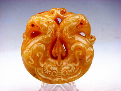 Vintage Nephrite Jade Hand Carved Pendant Sculpture Double Dragons #01041906