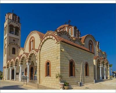 "10""x8"" (25x20cm) Print Church of St. Barbara in Paralimni, Cyprus..."
