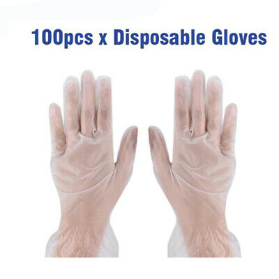 100PCS Clear Disposable Medical Vinyl Examination Gloves_Latex Free Rubber lo Nf