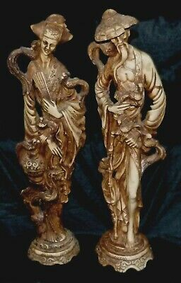 Vintage Pair Oriental Classical Tall Figurines Soap Stone For Restoration vpoc