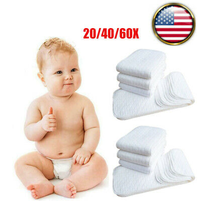 20/40/60Cotton Cloth Baby Diapers Inserts Liners 3 Layers Reusable Newborn Nappy