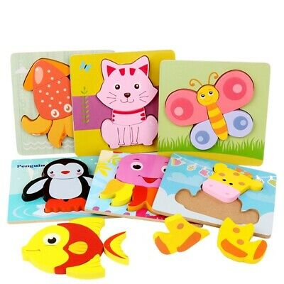 Baby Toddler Cartoon Animal Wooden Toys Kids Puzzle Children Learning Jigsaw Toy