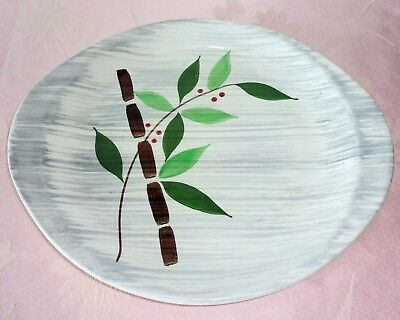 Stetson China PLATTER Bamboo Gray Bands Tab Handle Serving Tray Hand Painted