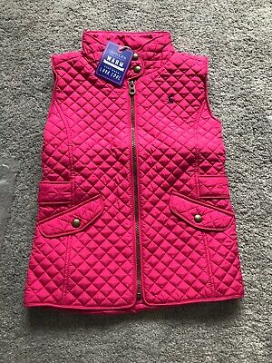 NEW Joules Girls Quilted Gilet Jacket 7-8yrs BNWT Pink Horse Riding Body Warmer
