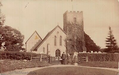 Hampshire Catherington Church Old Man Poses By Gate Photo Postcard