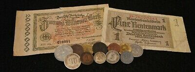 German Mixed Lot Coin & Currency Including SILVER &1800's Coins 12 Coins Total!