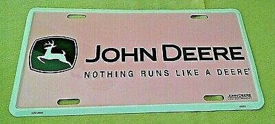 John Deere License Plate Pink Black White 2 Legged Deer Aluminum 05M-8995 Guc.
