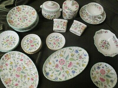 Lovely  Selection Of Vintage Minton Haddon Hall Tableware  Green Rim Design