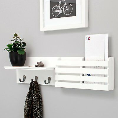 Wall Shelf and Mail Holder with 3 Hooks 24-Inch by 6-Inch White B