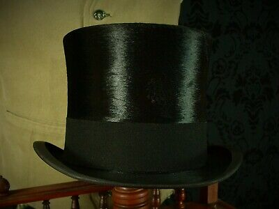 Good 1930's 20's silk black extra quality top hat. Bates hatters London 56 6 7/8