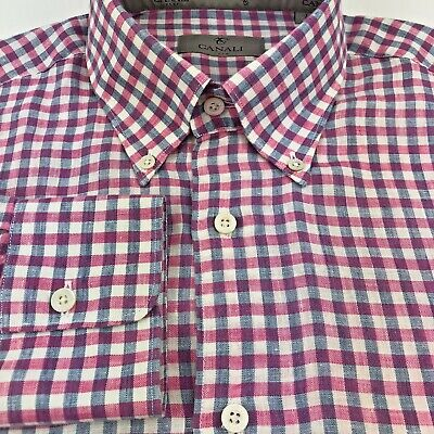 CANALI Mens Long Sleeve Pink Blue Linen Blend Button Front Casual Shirt L ITALY