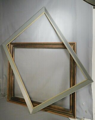 2 Mid Century Modern Picture Frames 24x30 Carve Gilt Rope Twist 23x27 Gray Paint