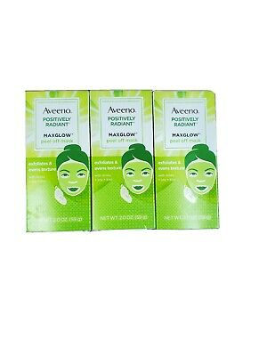 Aveeno MaxGlow Peel Off Face Mask, Kiwi+ Soy Complex 2.0 oz PACK OF 3