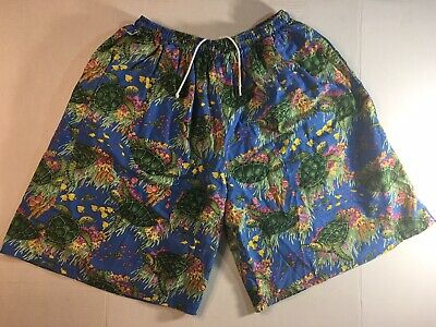Vintage 80s Original Jams Shorts Surf Sea Turtle Print Large